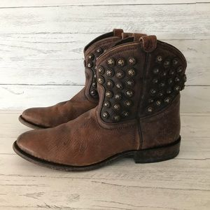 FRYE Studded Leather Booties